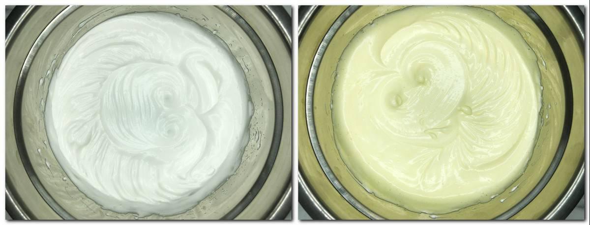 Photo 1: Ready meringue in a metal bowl Photo 2: Meringue/egg yolks mixture in a bowl
