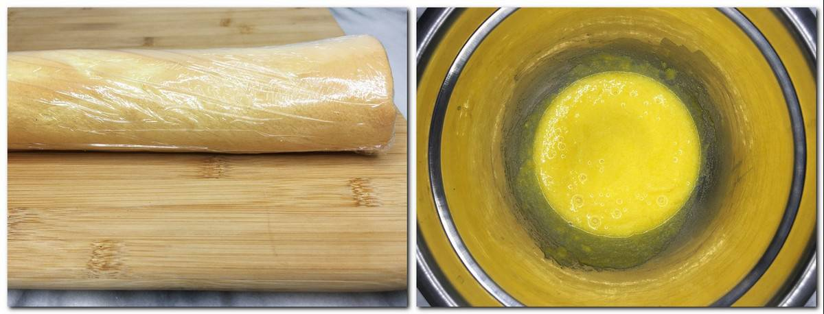 Photo 9: Cake roll wrapped in a plastic film on a wooden board Photo 10: Beaten egg yolks and sugar in a metal bowl
