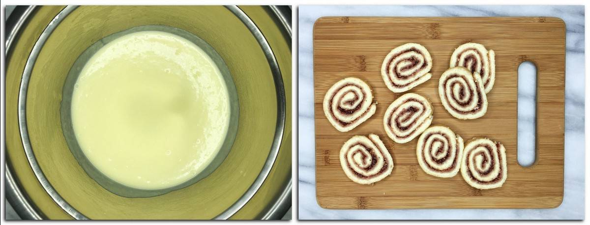 Photo 13: Ready Bavarian cream in a metal bowl Photo 14: Cake slices on a wooden board