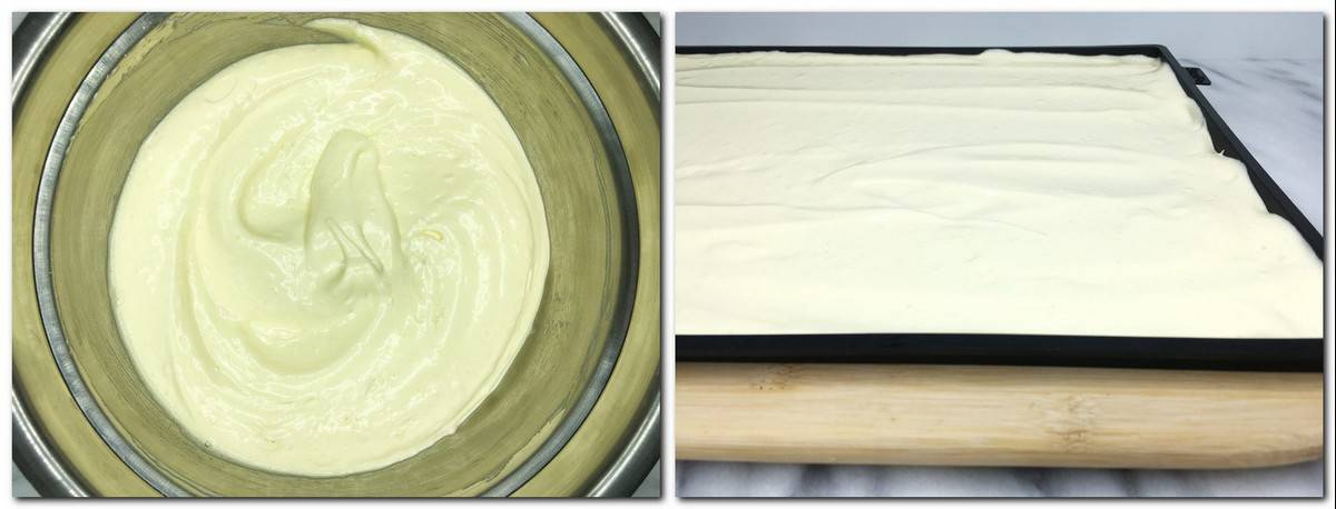 Photo 3: Ready biscuit dough in a metal bowl Photo 4: Dough spread in a baking sheet