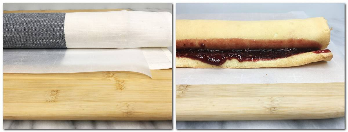 Photo 7: Fully rolled biscuit into parchment and a towel on a wooden board Photo 8: Rolled cake with the spread of raspberry jam on parchment and a wooden board