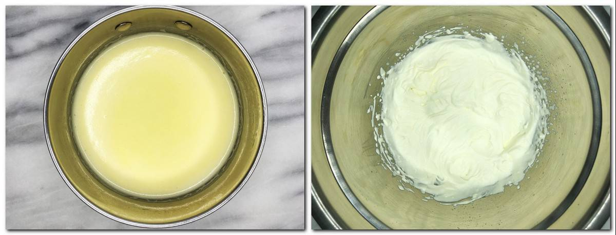 Photo 11: Ready custard in a saucepan Photo 12: Whisked whipping cream in a metal bowl