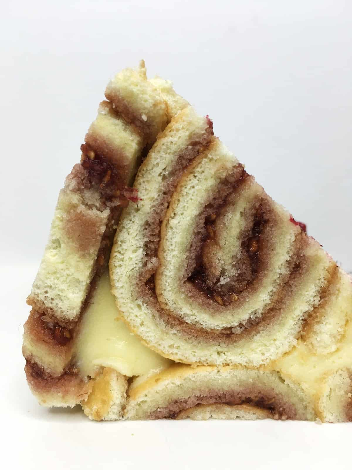A single slice of Charlotte cake: Bottom view