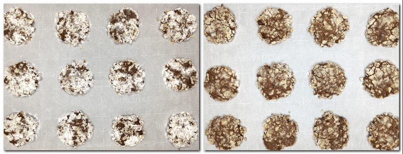 Photo 7: Flattened unbaked cookies on parchment Photo 8: Baked cookies on parchment