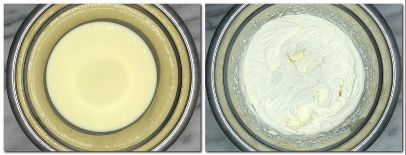 Photo 1: Irish cream in a metal bowl Photo 2: Irish cream whipped cream in a bowl