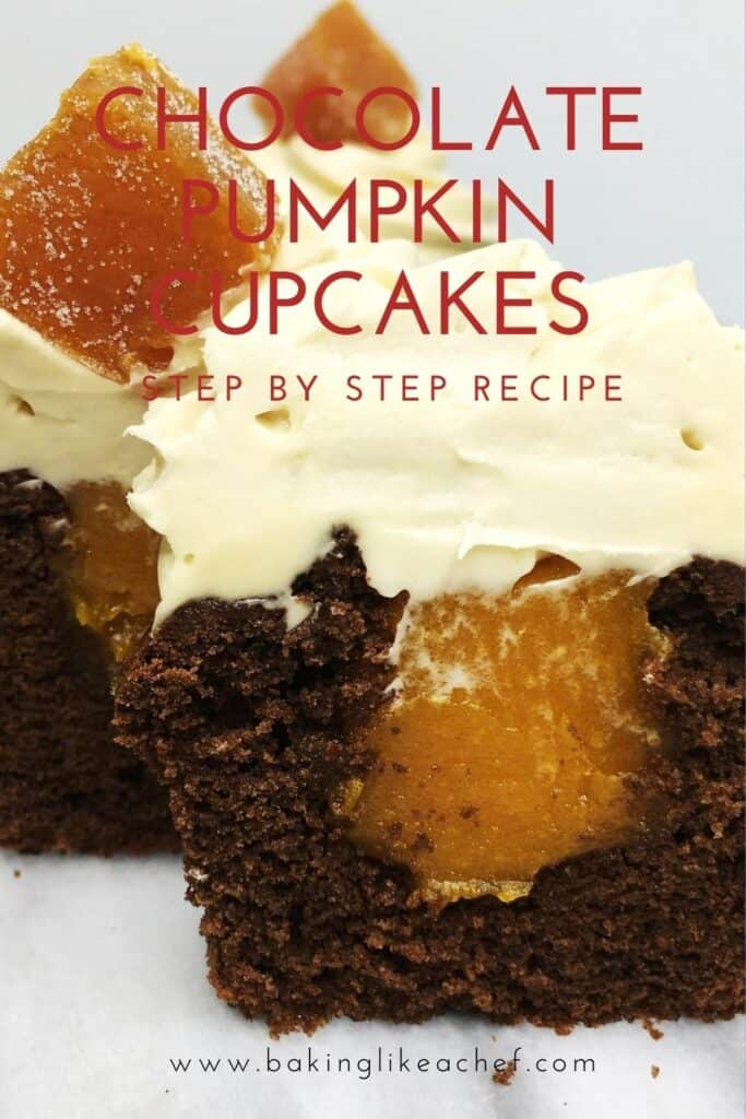 Chocolate pumpkin cupcake cut into two parts with the pumpkin filling inside: Pin with text