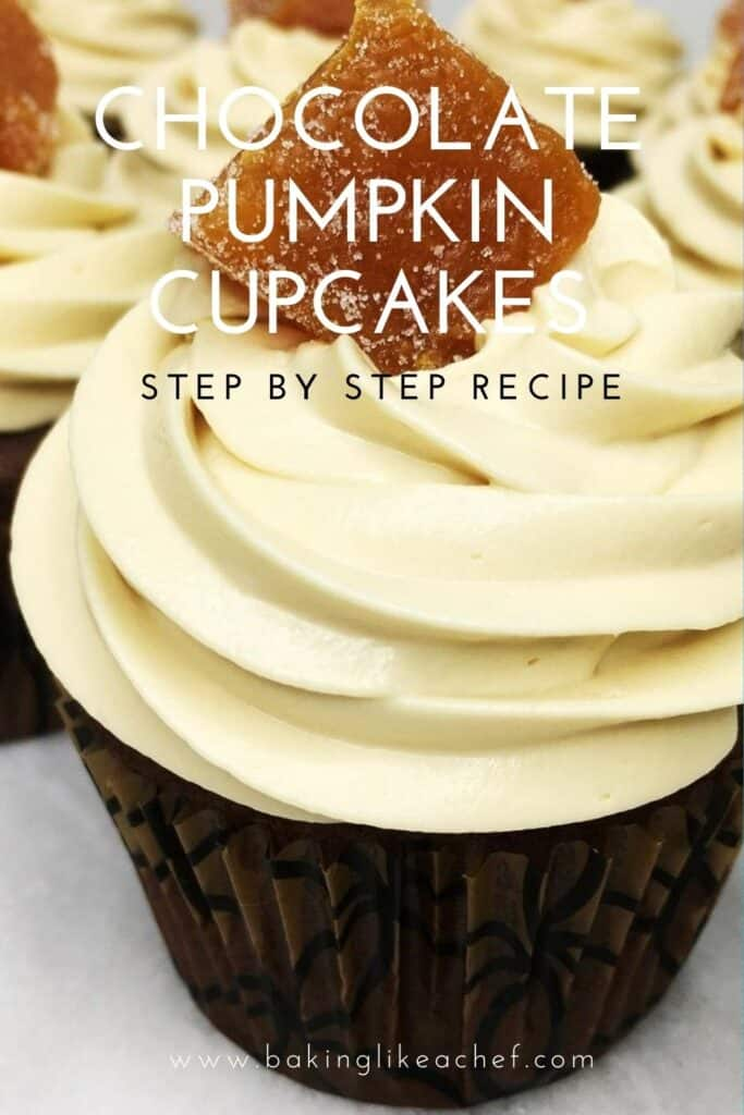 A batch of chocolate pumpkin cupcakes on a marble board: Pin with text
