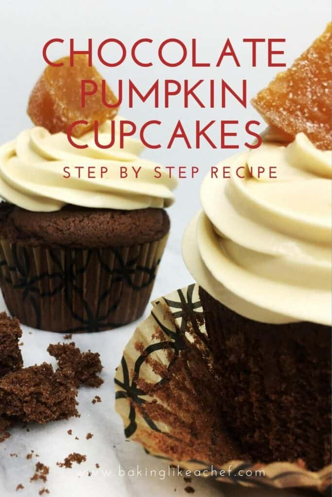 A couple of cupcakes with cream cheese frosting and candied pumpkin cube on top: Pin with text