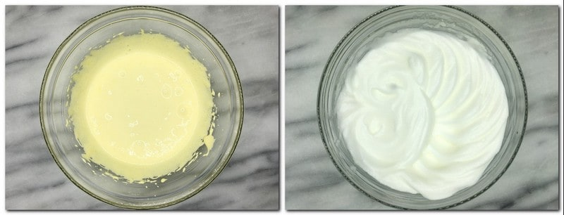 Photo 1: Egg yolks/sugar mixture in a glass bowl Photo 2: Beaten egg whites in a bowl
