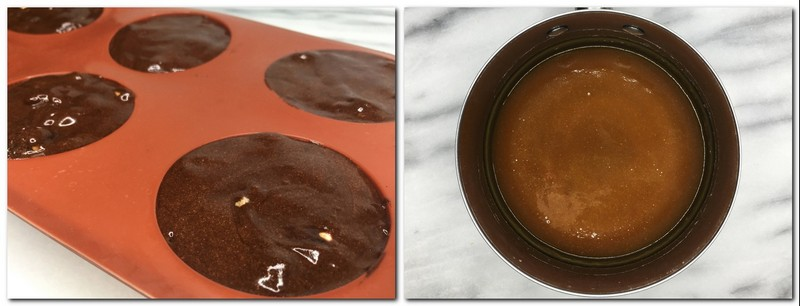 Photo 7: Silicone mold filled with the dessert Photo 8: Ready caramel sauce in a pan