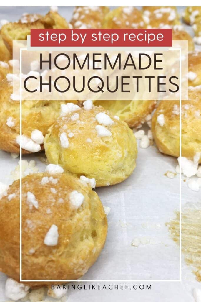 Scattered baked chouquettes over parchment paper: Pin with text