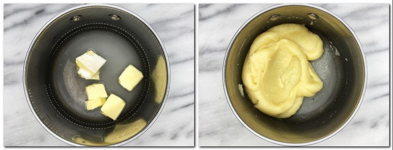 Photo 1: Water, butter, sugar in a saucepan Photo 2: Halfway ready dough in a pan