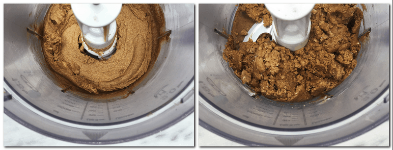 Photo 1: Butter/sugar/cinnamon mixture in the bowl of a stand mixer Photo 2: Ready Cookie dough in the bowl of a stand mixer