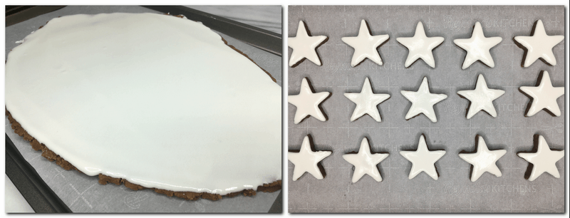 Photo 5: White royal icing on top of the cookie dough Photo 6: Unbaked cookies-stars on the parchment paper