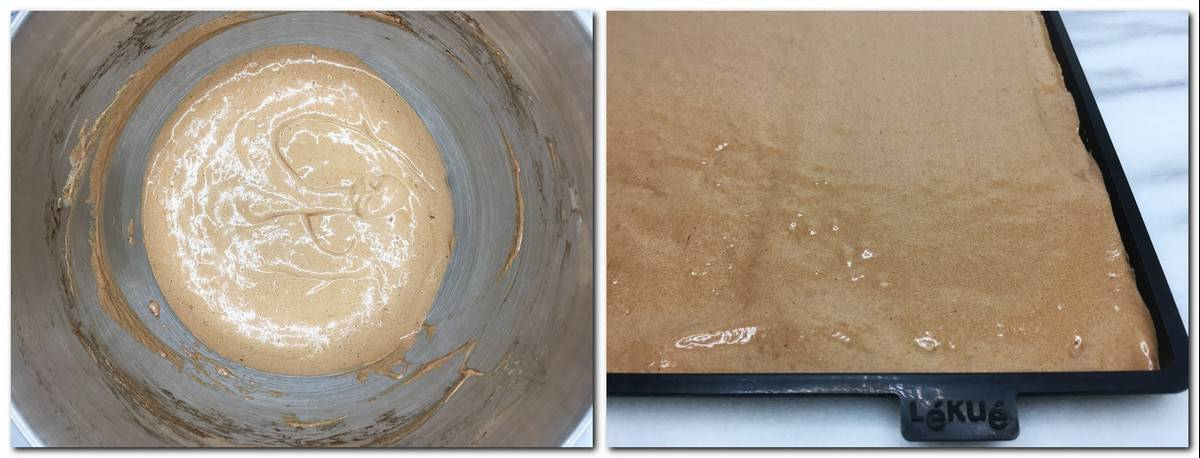 Photo 3: Sponge dough in a bowl Photo 4: The dough in a silicone mat
