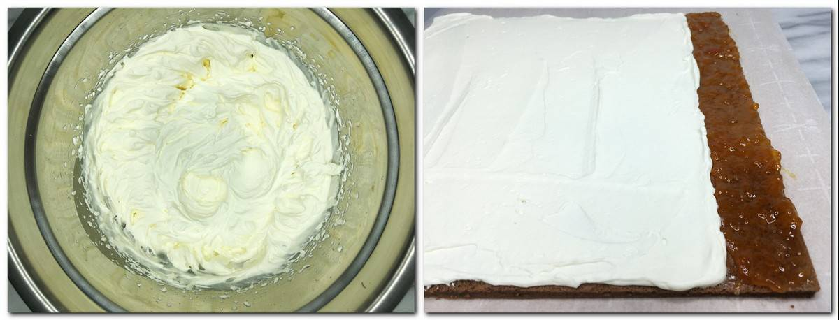 Photo 5: Whipped cream in a bowl Photo 6: Preserves and cream spread over the sponge