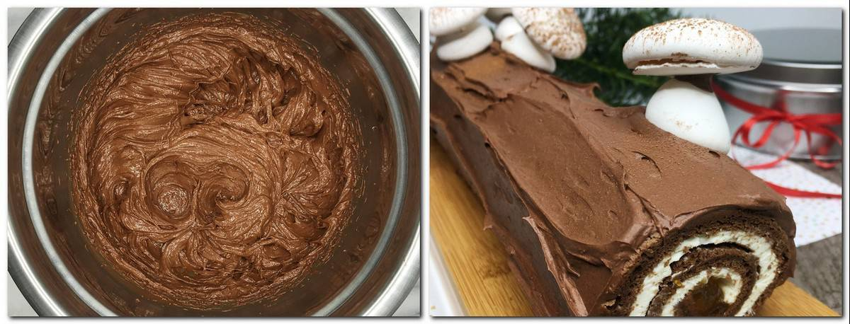 Photo 9: Chocolate frosting in a bowl Photo 10: Decorated Yule log on a serving tray