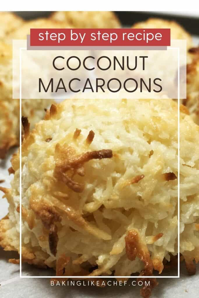Three baked macaroons on parchment paper: Pin with text