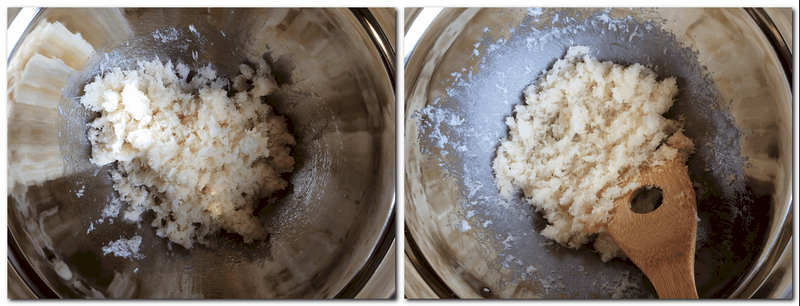 Photo 1: Coconut mixture in a bowl Photo 2: Mixture in a bowl over water bath