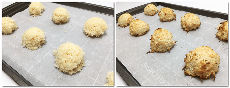 Photo 3: Scooped mixture on the parchment paper Photo 4: Baked cookies on the parchment