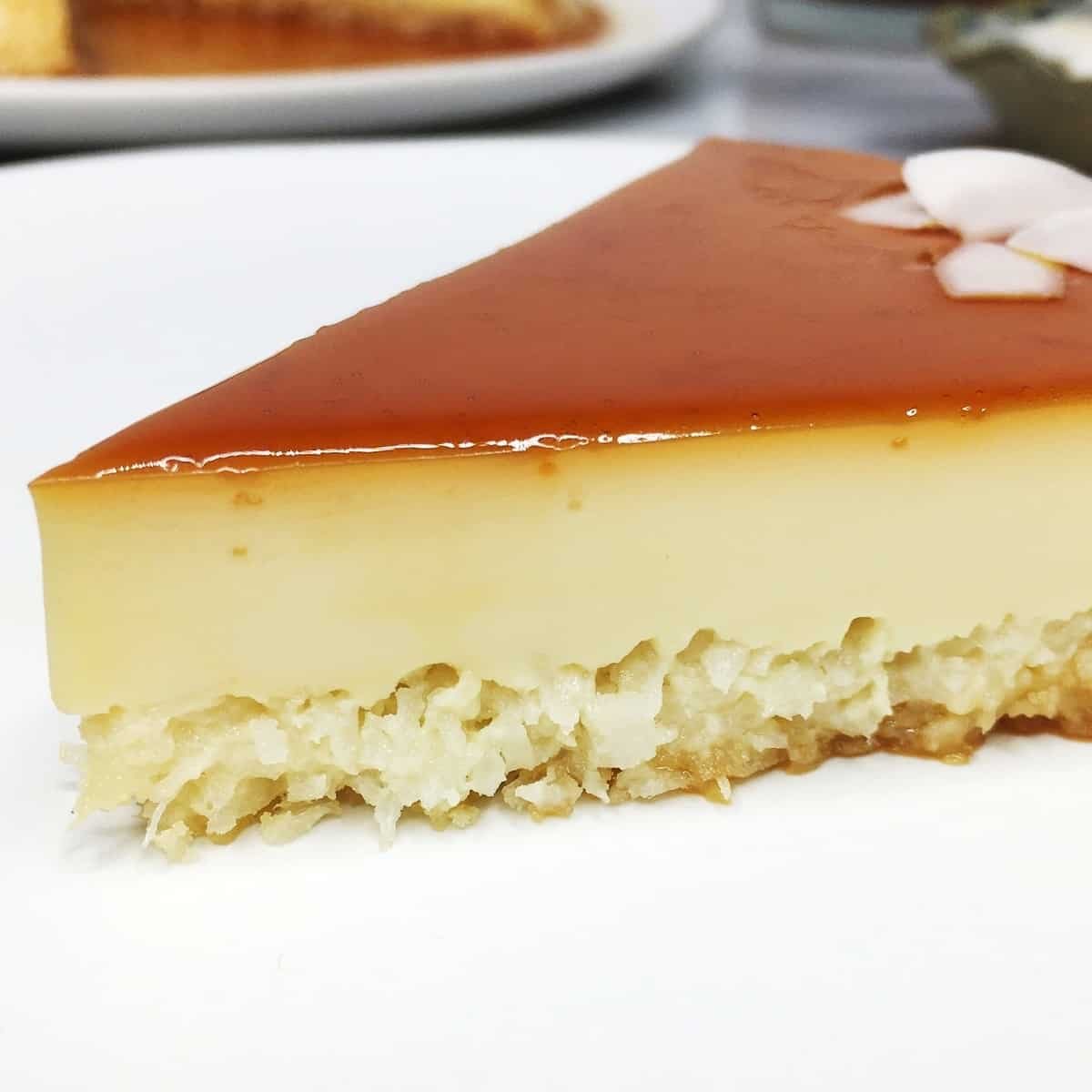 A slice of coconut flan with a plate in the background: Close up