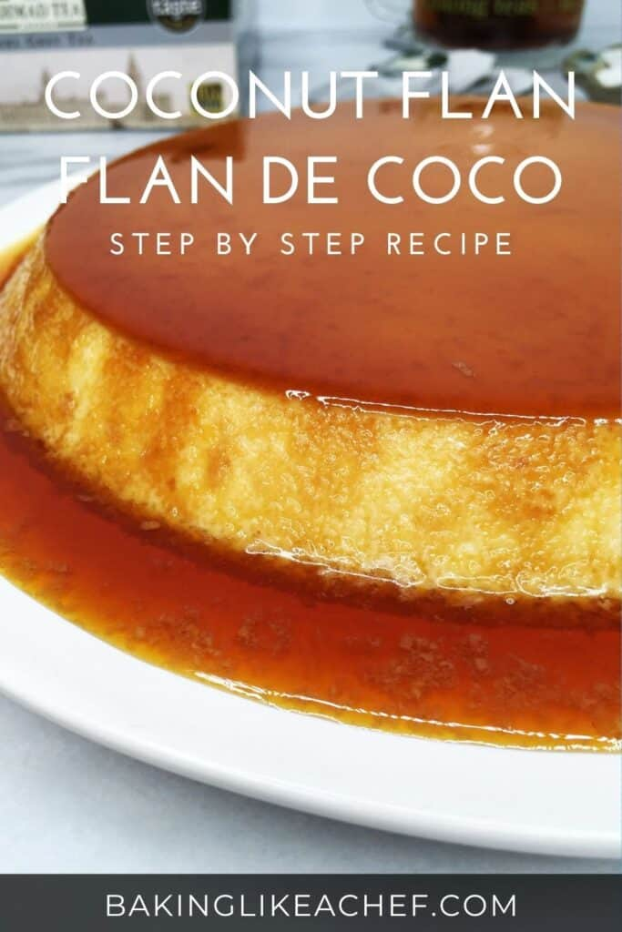 Flan topped with caramel; tea box, tea bags, a cup in the background: Pin with text