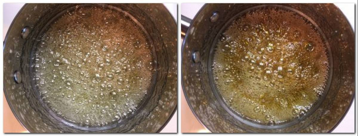 Photo 1: Boiling sugar syrup in a saucepan Photo 2: Boiling caramel in a saucepan