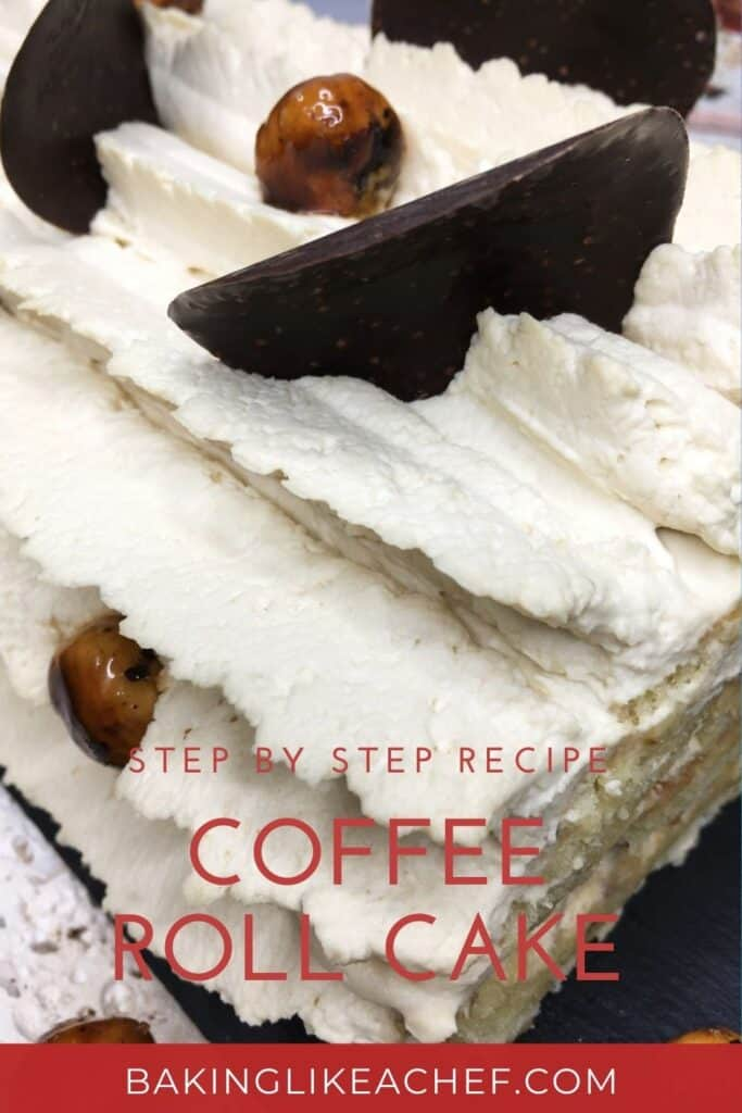 Coffee roll cake decorated with caramelized hazelnuts and dark chocolate crisps: Close up; Pin with text