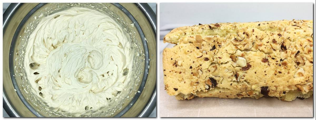 Photo 5: Mascarpone cream in a metal bowl Photo 6: Rolled biscuit on parchment