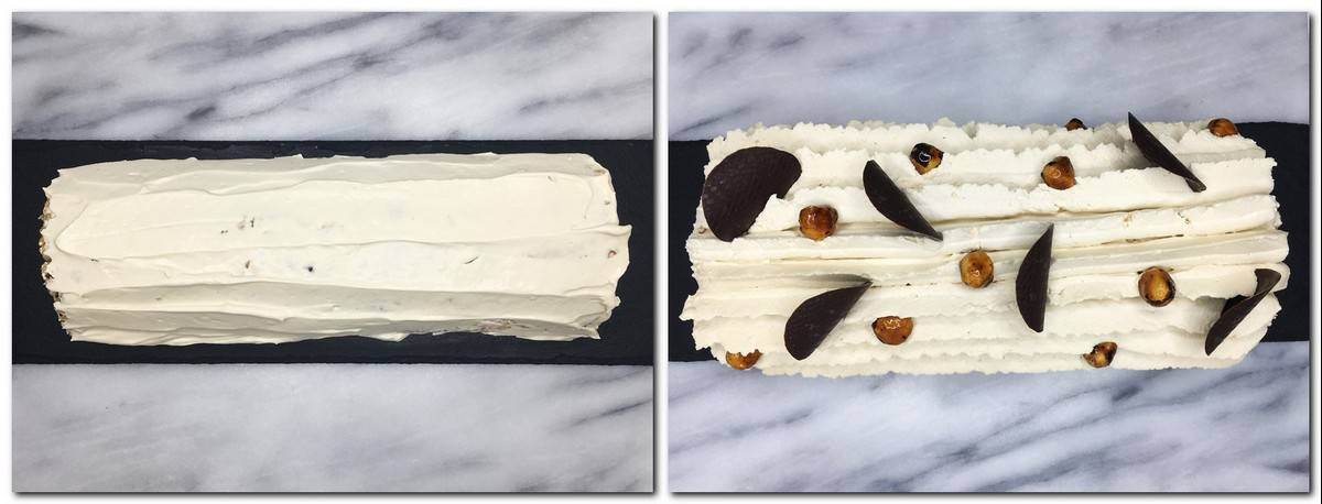 Photo 7: Roll cake with cream on a board Photo 8: Decorated cake on a board