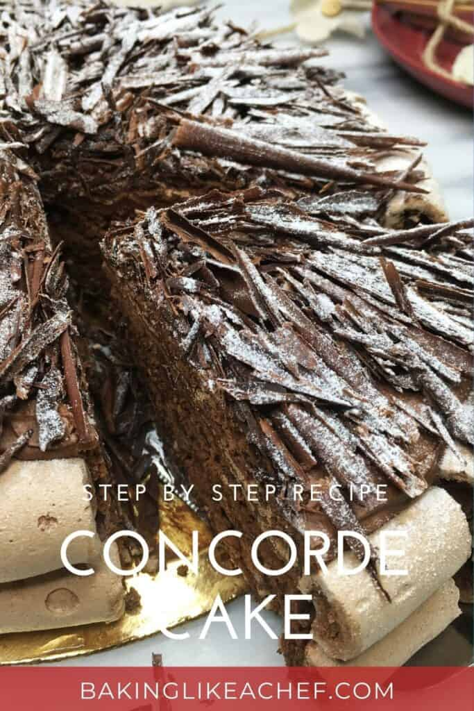 Sliced chocolate meringue cake Concorde on a cake board: Pin with text