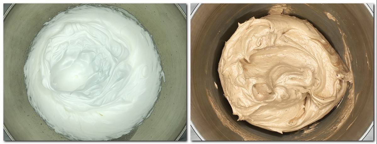 Photo 1: Beaten egg whites in a bowl Photo 2: Chocolate meringue in a bowl