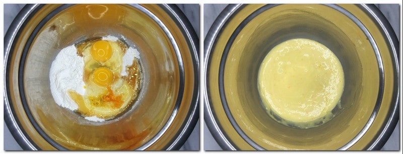 Photo 1: Batter ingredients in a metal bowl Photo 2: Halfway ready batter in a bowl