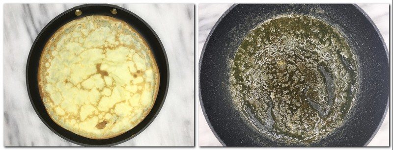 Photo 5: Cooked crepe in a pan Photo 6: Cooked sugar with butter in a pan