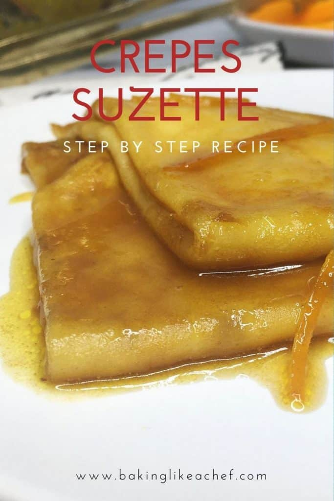 A couple of crepes Suzette flambe with the sauce on a dessert plate: Close up