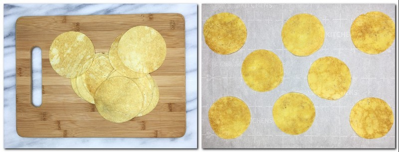 Photo 1: Cut crepe disks on a wooden board Photo 2: Crepe disks on the parchment paper