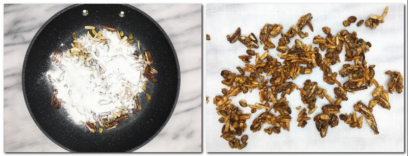 Photo 3: Mix of nuts sprinkled with icing sugar in a frying pan Photo 4: Caramelized nuts on the parchment paper