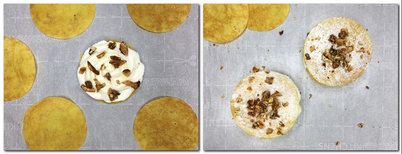 Photo 5: Disk topped with cream and chopped nuts with other crepe circles on parchment Photo 6: Two finished desserts with two disks on background