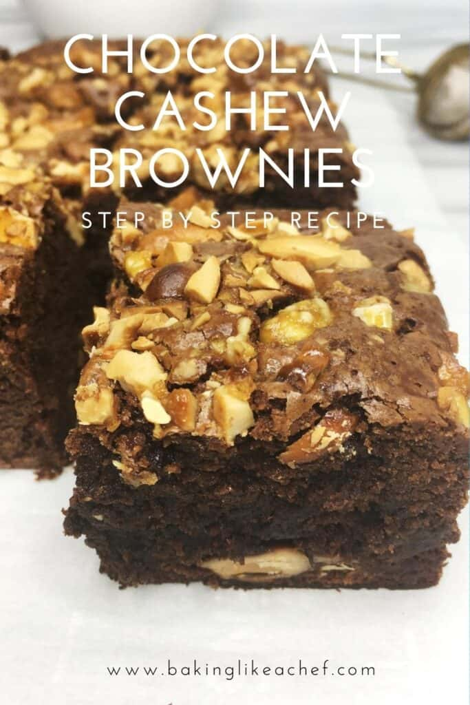 Sliced brownies with a single slice close up: Pin with text