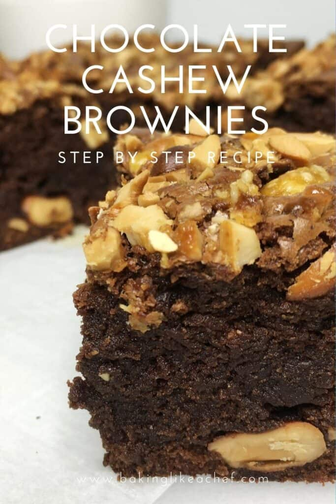 Sliced dark chocolate brownies topped with cashews on parchment: Pin with text