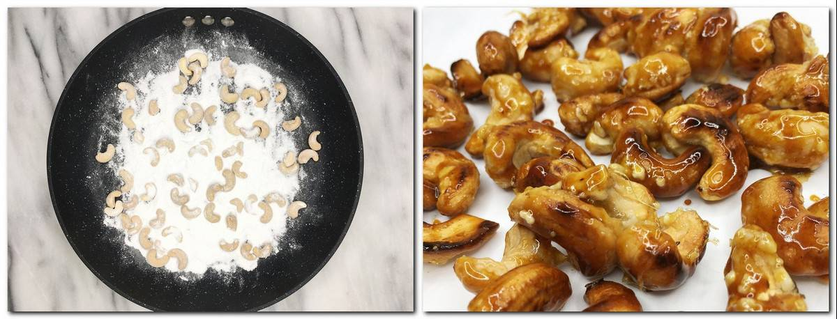 Photo 1: Cashews and icing sugar in a frying pan Photo 2: Caramelized cashews on parchment