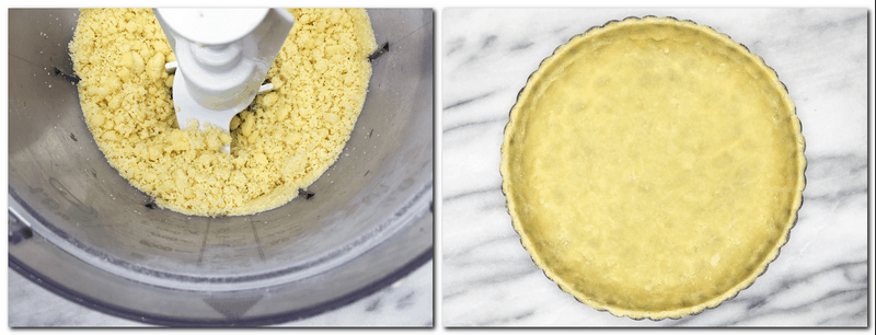Photo 1: Ready crust dough in the bowl of a stand mixer Photo 2: Crust dough pressed into a tart pan