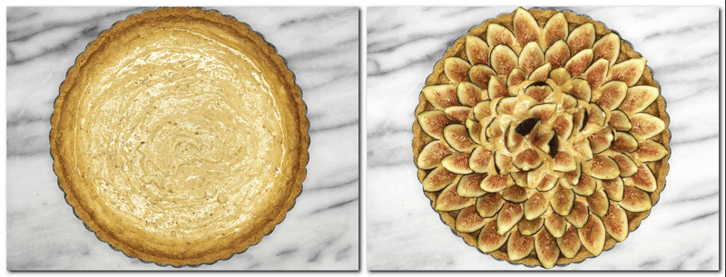 Photo 7: Praline cream poured into the tart crust Photo 8: Figs arranged on top of the praline cream