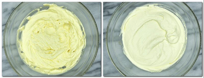Photo 1: Whisked yolks, sugar, mascarpone and Marsala in a bowl Photo 2: Ready mascarpone cream