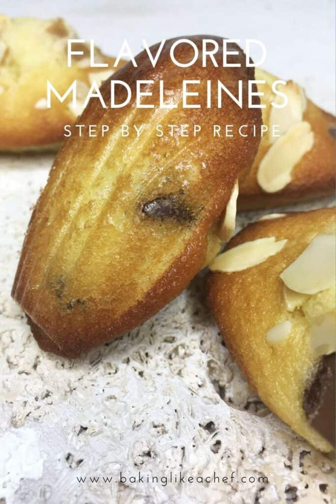 Flavored madeleines sprinkled with chocolate chips and flaked almonds on a stone board: Pin with text