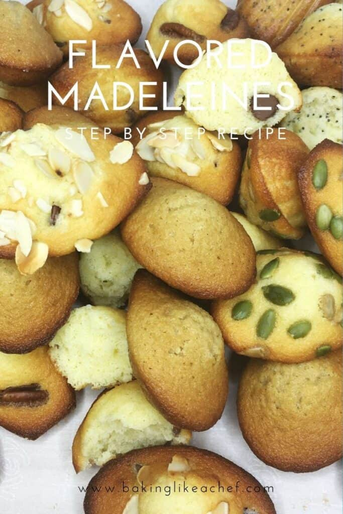 Different variations of flavored madeleines and classic French madeleines on parchment: Pin with text