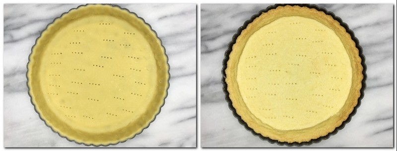 Photo 5: Trimmed and pricked tart crust in a tart pan Photo 6: Baked tart crust in a pan