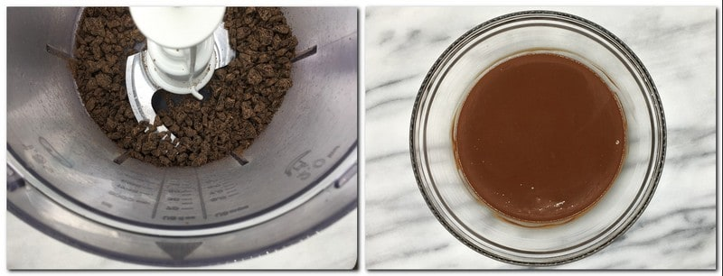 Photo 7: Processed dark chocolate in the bowl of a food processor Photo 8: Ready chocolate ganache in a glass bowl