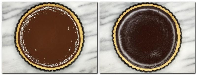 Photo 9: Chocolate ganache poured into the tart crust Photo 10: Baked chocolate ganache into the tart crust