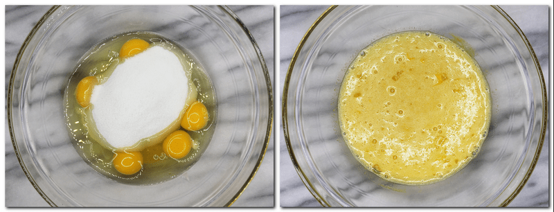 Photo 1: Eggs, sugar, honey and vanilla seeds in a glass bowl Photo 2: Mixed eggs, sugar, honey and vanilla seeds in a bowl